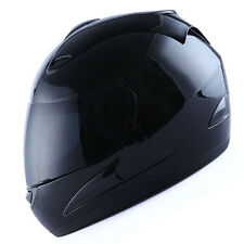 NEW WOW Motorcycle Full Face Helmet  Street Bike Adult Glossy Black DOT S M L XL