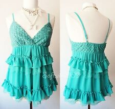 NEW Teal Green Scallop Lace/Ruffle Trim ROMANTIC Babydoll Chiffon CUTE Cami Top