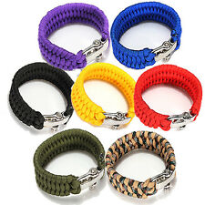 ParaCord Survival Bracelet Weave Handmade 7-Stand Stainless Steel Shackle Buckle