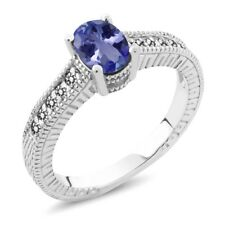 1.08 Ct Oval Blue Tanzanite White Diamond 925 Sterling Silver Engagement Ring