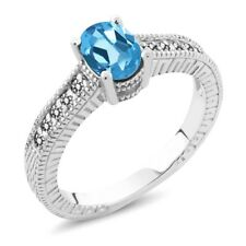 1.13 Ct Oval Swiss Blue Topaz White Diamond 925 Sterling Silver Engagement Ring