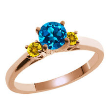 0.69 Ct Round London Blue Topaz Yellow Citrine 14K Rose Gold Ring