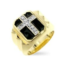 .75 CARAT MENS CUBIC ZIRCONIA SIMULATED ONYX CROSS RING SIZE 8 9 10 11 12 13