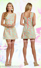 $168 Lilly Pulitzer Delia Sand Bar Blue Make A Splash Print Shift Dress 8