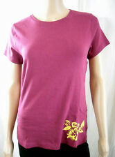 NEW ST JOHNS BAY S/S 100% Cotton Classic Tee TOP  Floral Detail - COLORS
