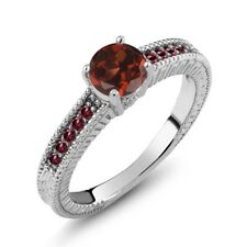1.25 Ct Round Red Garnet Rhodolite Garnet 925 Sterling Silver Engagement Ring
