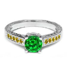 1.70 Ct Round Green Simulated Emerald Simulated Citrine 925 Sterling Silver Ring