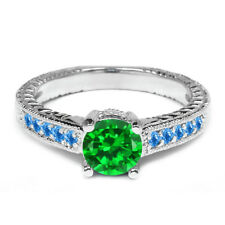 1.70 Ct Round Green Simulated Emerald Swiss Blue Topaz 925 Sterling Silver Ring