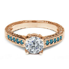 1.07 Ct H/I Diamond Blue Diamond 925 Rose Gold Plated Silver Engagement Ring