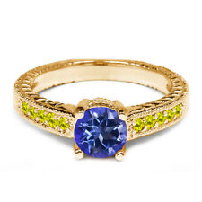 1.17 Ct Round Purple Blue Mystic Topaz Canary Diamond 14K Yellow Gold Ring