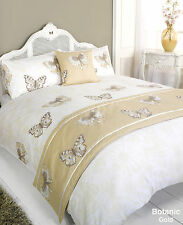 5pc BOTANIC GOLD DESIGN DUVET QUILT COVER SET + CUSHION + BED RUNNER