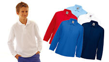 Kids Fruit of The Loom Long Sleeve 65/35 Pique Polo T Shirt, 5 tshirt colours