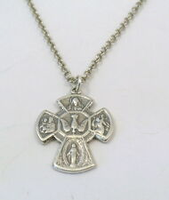 Sterling Silver Catholic 4-Way Cross Pendant on a Sterling Silver Rolo Necklace