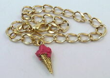 Gold Tone Starter Bracelet with Gold tone Ice Cream Cone Hand Painted Raspberry