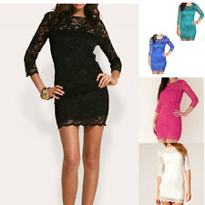 Women Sexy Lace Mini Dress Slash Neck Pencil Fit 3/4 Sleeve Cocktail Party Dress