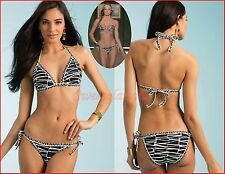 $148 Trina Turk 2 piece Cozumel Zebra Triangle Top & Tie Side Bottom Bikini Set