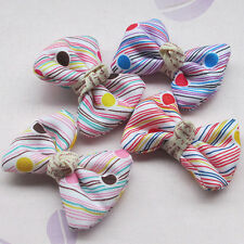 20/80pcs Upick Ribbon Flower Bows Sewing Appliques DIY Craft Wedding Decor E80