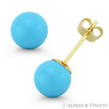 Blue Turquoise 14k Solid Yellow / White Gold Stud Earrings 14kt 14 kt Ball Studs