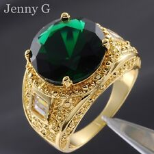 Size 9-13 Jewelry Deluxe Mens Emerald 18K Yellow Gold Filled Huge Gem Ring