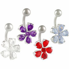 Belly button balls Crystal navel rings piercing bars steel jewellery flower 9LYK