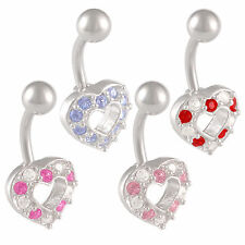 Crystal heart belly ring bars surgical steel navel bars barbell piercing 9LYQ