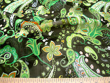 Discount Fabric Sheer (Voile) Green Paisley Floral VO200