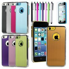 For Apple iPhone 5C New Brushed Aluminum Matte Chrome Hard Case Cover +Film &Pen