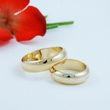6MM GOLD EP MATCHING HIS AND HERS SET COMFORT FIT WEDDING BANDS YOU CHOOSE SIZE