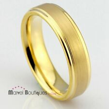 6mm Men Women Gold Wedding Band Tungsten Carbide Brushed Stepped Edge Ring (012)