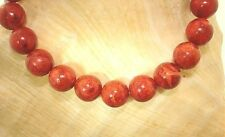8-18MM GENUINE NATURAL INDO-PACIFIC ROUND RED SPONGE CORAL BEAD STRETCH BRACELET