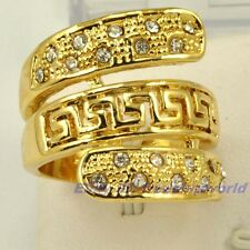 Size 6.5,7,7.5,8,8.5,9 Ring REAL TOP 18K YELLOW GOLD GP GEMSTONE GREEK KEY SOLID