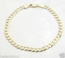 5.7mm Mens Solid Curb Link Chain Bracelet Real 10K Yellow Gold 6.8gr GREAT GIFT