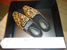 Derek Lam Women's Ladies Cheetah Leopard Pony Hair Leather Chic Slippers New