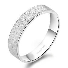 1 PCS Solid Sterling Silver Frosted Band Ring Comfort Fit Size 4-10 S#002