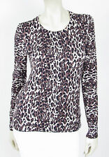FRENCH CONNECTION Leopard Knit Cotton Back Button Sweater - Stone/Black