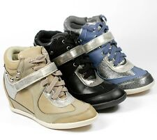 GIRLS KIDS LACE UP VELCRO HIGH TOP FASHION HIDDEN WEDGE SNEAKERS