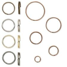100 Plated Steel Round Split Rings Small - Big Double Ring Keyring Findings