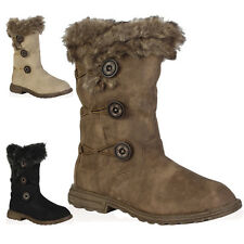 New Ladies Soft Womens Button Winter Faux Fur Snow Mid Calf Boots Shoes Size 3-8