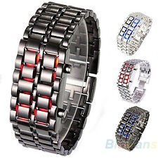 Unique Wrist Watch Lava Iron Samurai Metal LED Faceless Bracelet Wristwatch BD4U