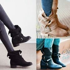 Women Retro Western Flat Slouch Boots Triple Buckle Strap Motorcycle Ankle Boots