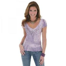 NEW with TAGS! LJK378P Rock 47 Ladies Purple Short Sleeve V-Neck Graphic Tee