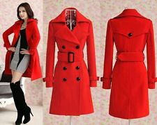 FREE Womens Red trench slim winter warm coats long wool jacket outwear with belt