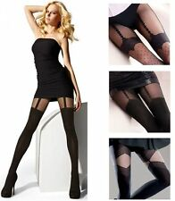 Soft Faux Garter Mock Suspender Effect Pantyhose Tights Gatta Europe Size S M L