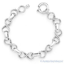 Solid Italy 925 Sterling Silver Infinity Charm Cable Link Italian Chain Bracelet