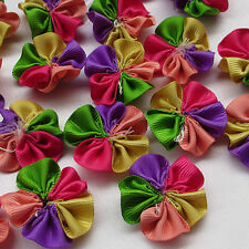 50/200pcs Colorful Grosgrain Ribbon Flower Appliques wedding Sewing Crafts E85