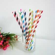 25 Pcs Colorful Diagonal Striped Paper Drinking Straws Party Wedding Birthday