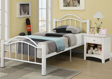NEW REESE TRANSITIONAL WHITE FINISH TUBULAR METAL TWIN or FULL BED