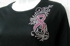 """Breast Cancer""""Pink Ribbon w Flowers""""- small lapel size design-embellished tees"""