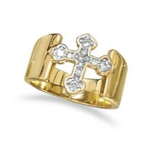 14 Karat Gold Plated Brass CZ Cross Ring