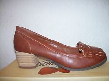 "BNIB CLASSIC STYLE LOAFER  SHOE 1.5"" BLOCK HEEL TAN  FAUX LEATHER SIZE 3-7"